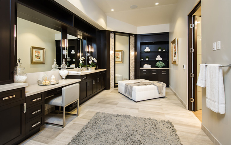 spacious powder room with black cabients