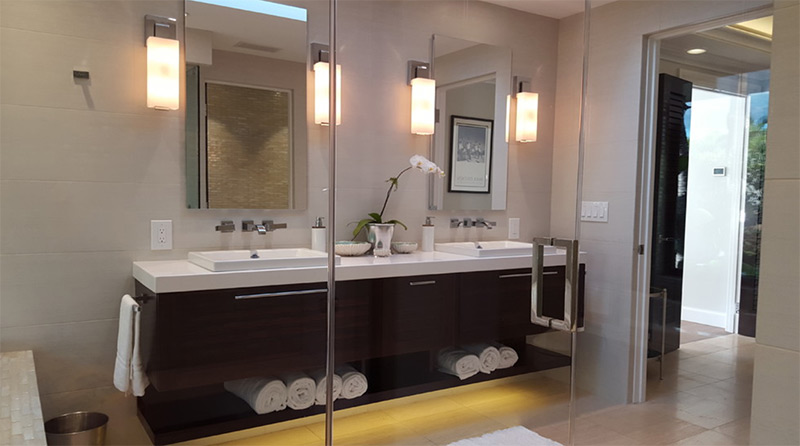 floating cabinets in bathroom w/ storage space