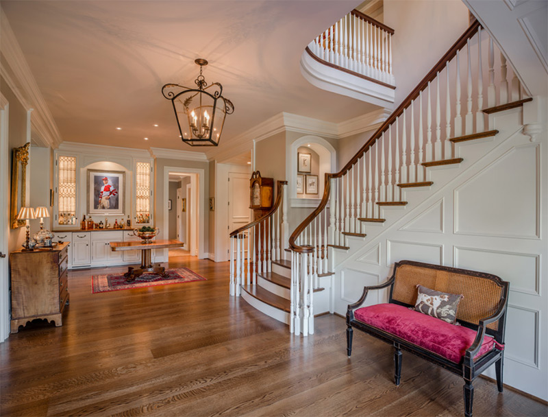 Elegant staircase with curved railing