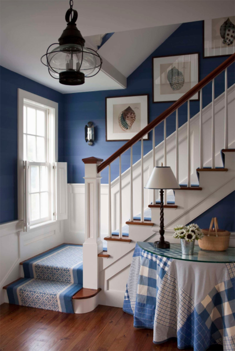 Nantucket interior L-shaped stairs
