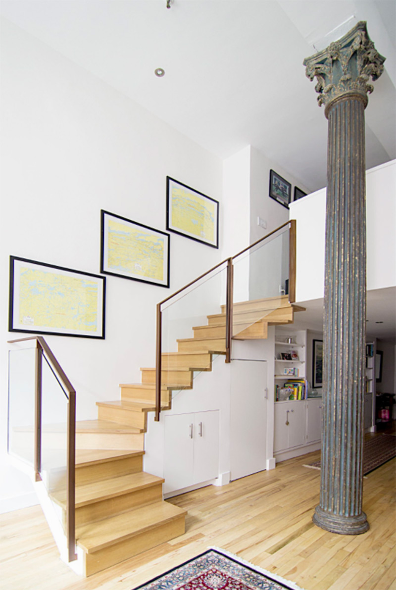 square apartment l-shaped stairs interior