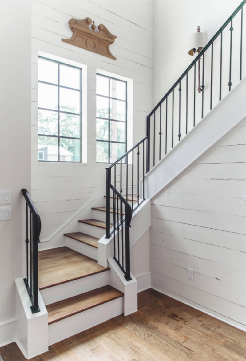 black white lightwood l-shaped stairs