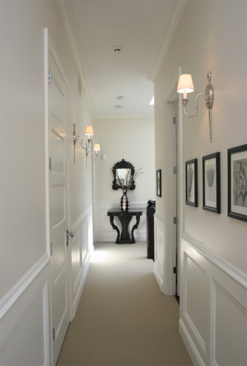 White and black upstairs hallway design
