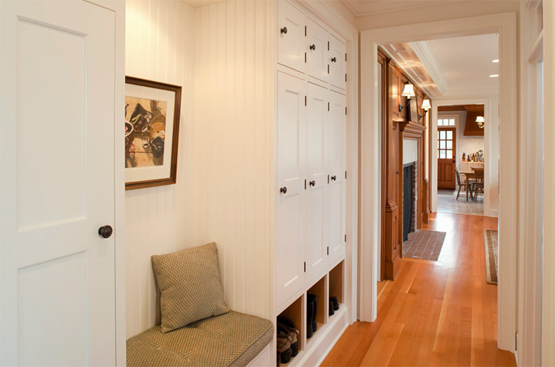 Strong wood upstairs hallway design
