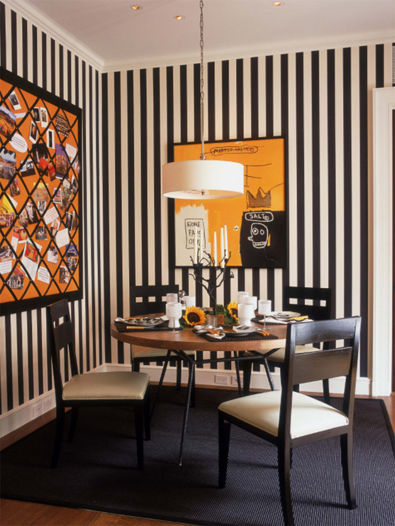 Striped custom dining space in Chicago home