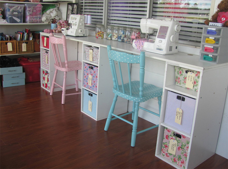 Kids eclectic vintage craft room