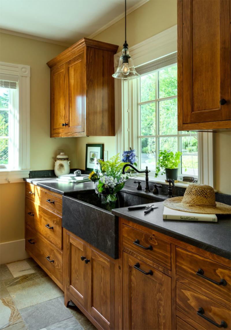 Dark cottage farmhouse black sink