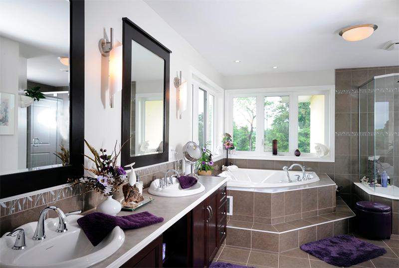 Large open bathroom with corner tub