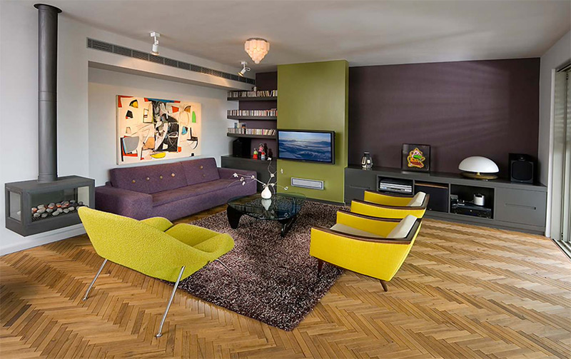 Midcentury purple living room