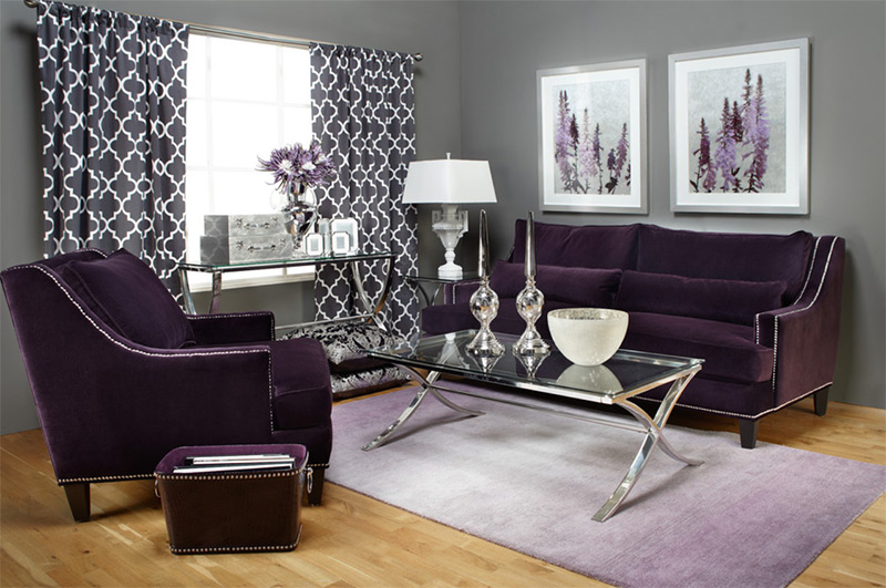 Custom purple sofa interior design