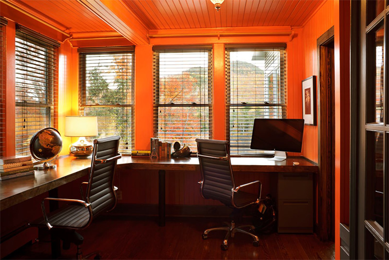 Red walls in home office