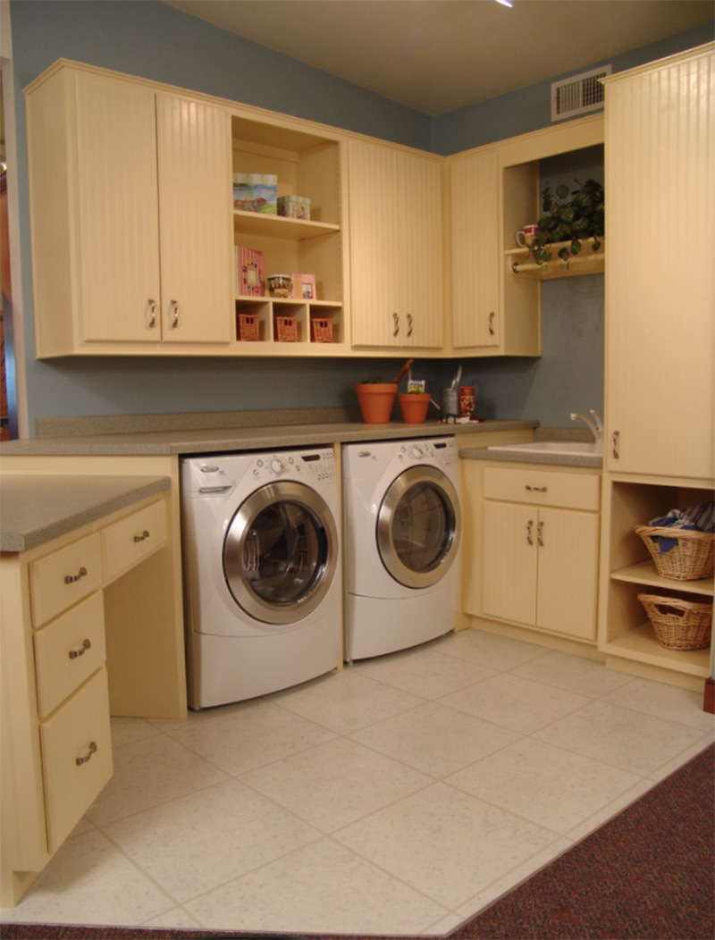 Laundry room display in pale yellow