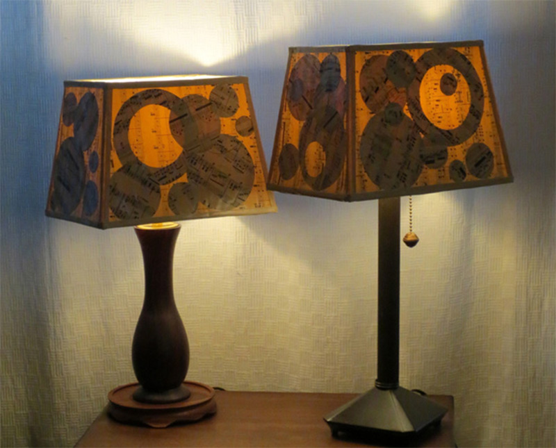 small wooden table lamp shade musical notes pattern