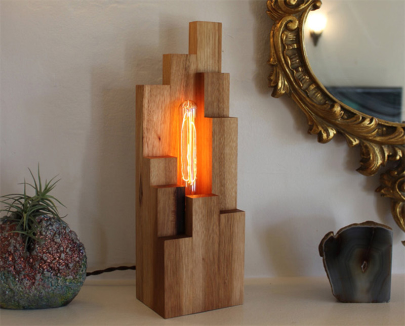 wooden unique handmade table desk lamp exposed bulb
