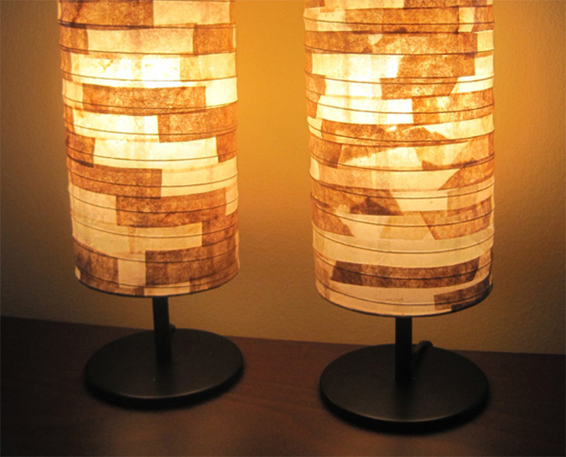 eco-friendly coffee filter lampshade design handmade