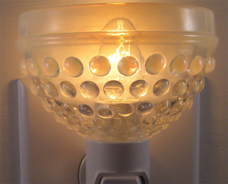 night light bowl glass moonstone hobnail etsy