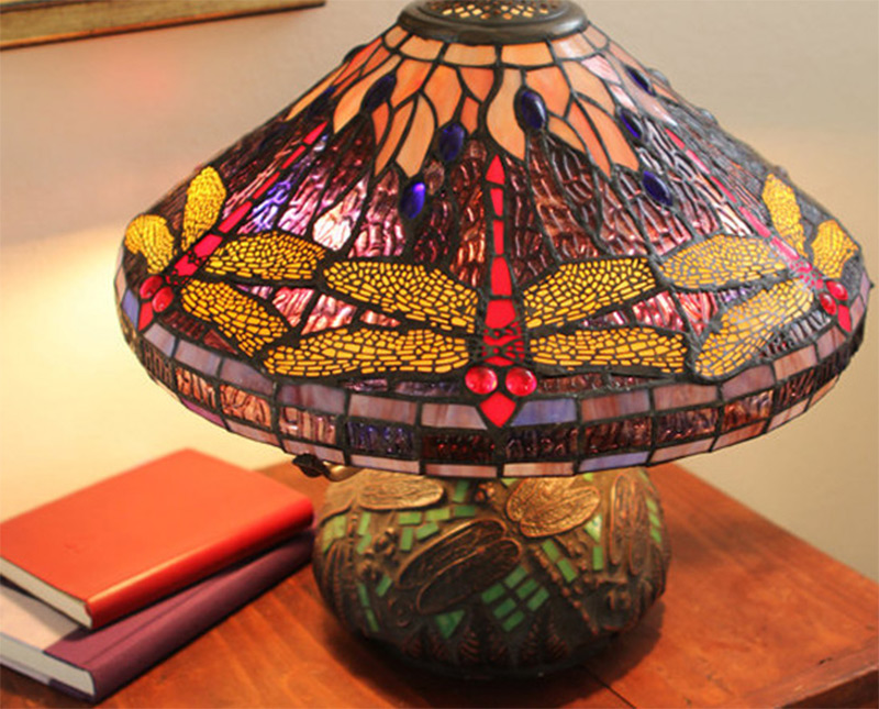 dragonfly tiffany style table lamp short stained glass