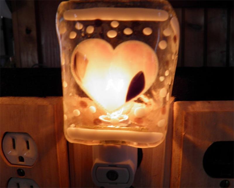 square glass heart shape custom nightlight