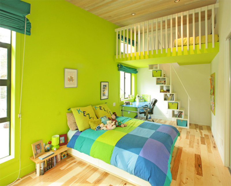 vancouver canada interior bedroom bright green blue colorful
