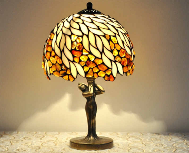 stained glass small table lamp brown orange baltic amber