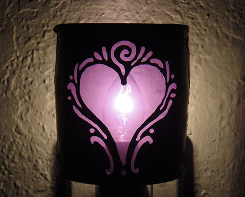 colorful purple nightlight heart shape etsy