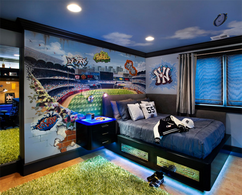 sports gear dark blue bedroom teenager interior