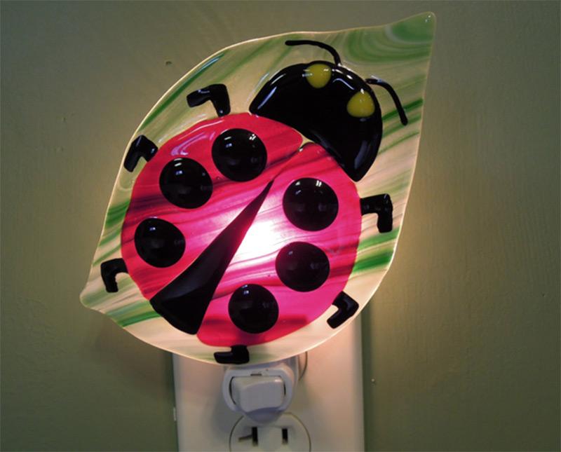 ladybug on green leaf nightlight photo
