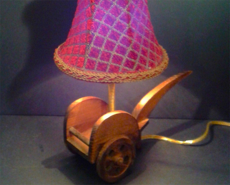 brass vintage toy cart table lamp velvet lampshade etsy