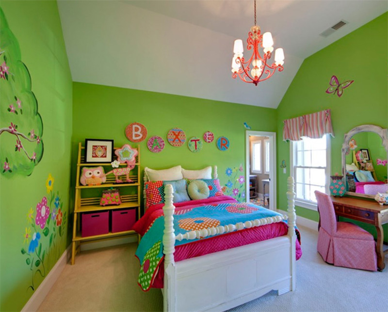beautiful girls room green butterflies modern