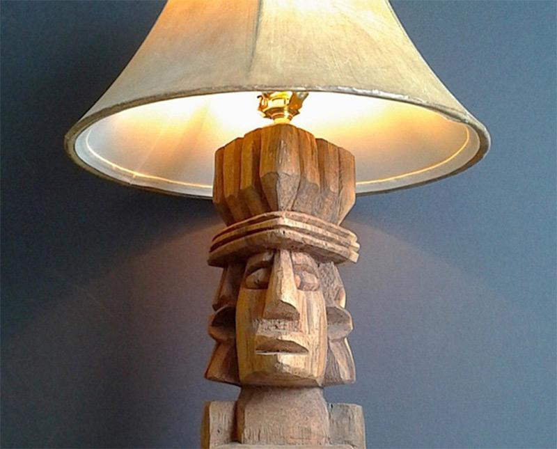 etsy handmade product tiki guy table lamp wooden