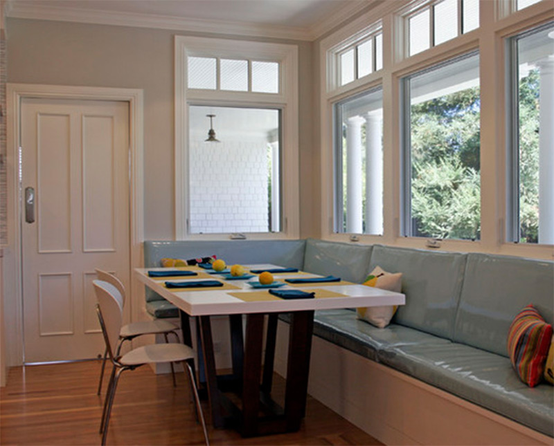 beadboard banquette seating breakfast table