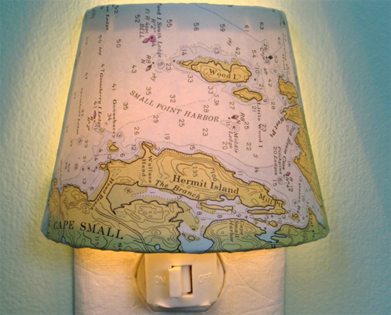 old vintage map shade hermit island maine nightlight