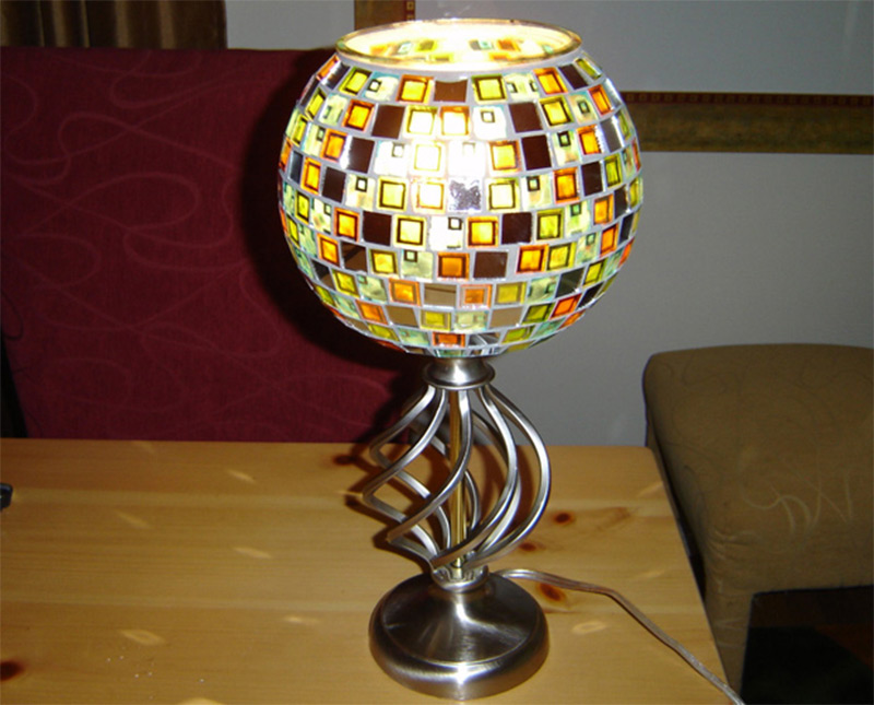 stained glass mosaic pattern table lamp etsy