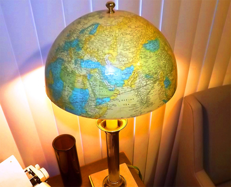 etsy one-of-a-kind handmade half globe tablelamp