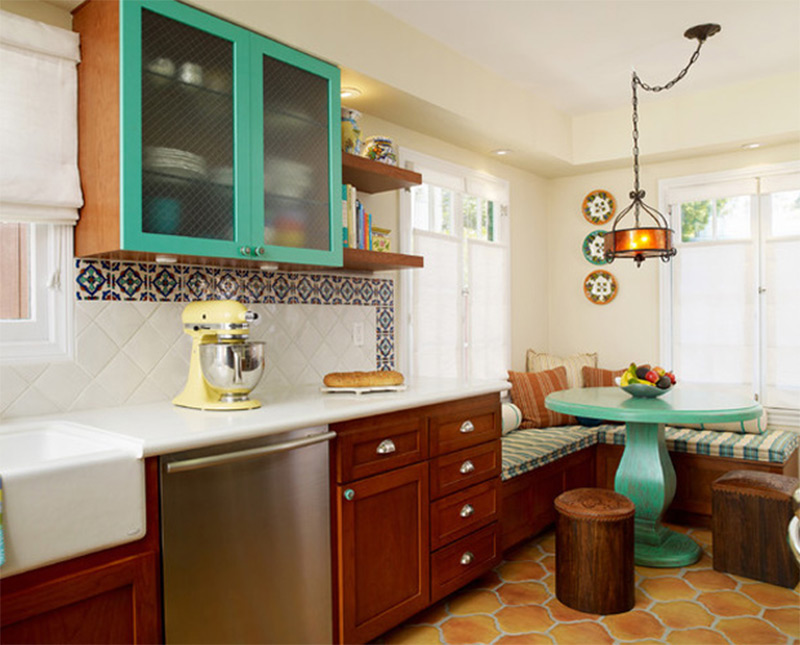 green kitchen cabinets breakfast nook interior