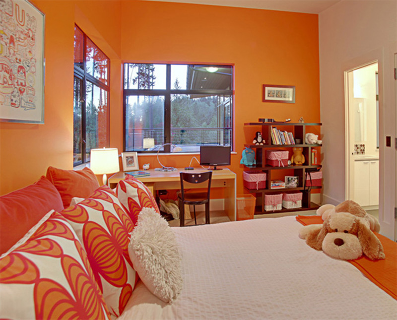 cute orange colorful bright fluffy bedroom kids interior